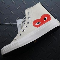DCCKBE6 Converse High Tops Cdg Play Addict Fashion Canvas Flats Sneakers Beige