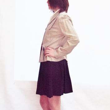 vintage 50s 40s Checkered Blazer Jacket S, M // Tailored / PEPLUM / Preppy / Brown White / MINIMALIST
