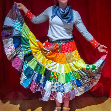 Women's patchwork skirt, ladies rainbow skirt, rainbow patchwork skirt, women's Eco clothing festivals, ecofriendly, bright and colourful