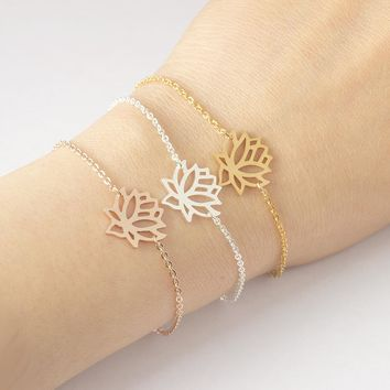 Fashion Women`s Rose Gold Spiritual Jewelry Lotus Bracelets Stainless Steel Charm Chain bracelets & bangles for girls 2017