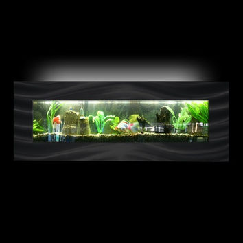 "Aussie Aquariums Wall Mounted Aquarium - Vista Black -  46.0"" x 17"" x 4.5"""