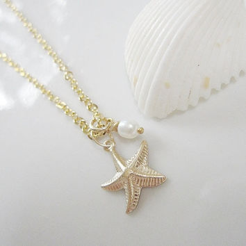 Gold Starfish Necklace - Starfish and Pearl Necklace Gold Shell Collection - Simple and Classic Bridesmaid Gift