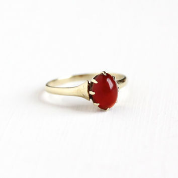 Antique 10k Yellow Gold Carnelian Solitaire Ring - Ostby & Barton OB Edwardian Art Deco Early 1900s Red Cabochon Gemstone Fine Jewelry