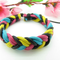 Soft Leather and Multiclour Cotton Ropes Women's by braceletcool