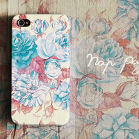 Apple iphone case for iphone iPhone 5 iphone 4 iphone 4s iphone 3Gs : Vintage blue flower rose