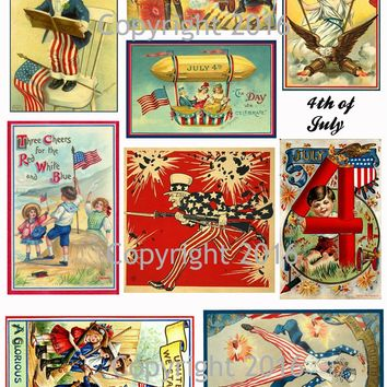 Printable Vintage Patriotic 4th of July Cards Collage Sheet #1  To Download