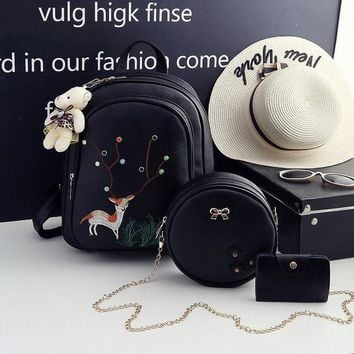 University College Backpack Embroidery Cute Pu Leather  Women Lock School Bags For Teenagers Girls Fashion  Rivet Shoulder  StudentsAT_63_4