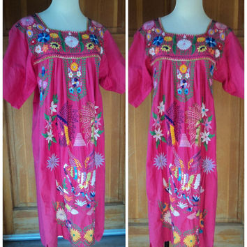 Vintage 70s Mexican Embroidered Dress Heavily Embroidered Bird Indian Chef Hippie Dress Pink Festival Dress S 34 bust