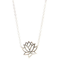 Lotus Necklace, Sterling Silver