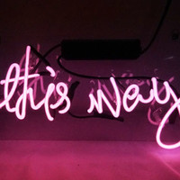 """This Way"" Neon Sign Light Pub Night Club Bontique Artwork Shop Decor Window"