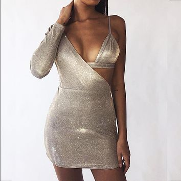Sexy nightclub one-shoulder silver silk dress