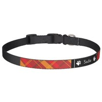 Red And Orange Plaid With Dog Paws & Name Dog Collar