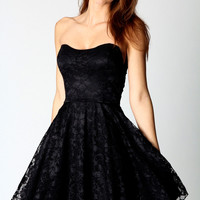 Lulu Bandeau Lace Skater Dress