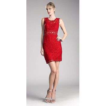 Short Sleeveless Mock Two-Piece Lace Dress Red