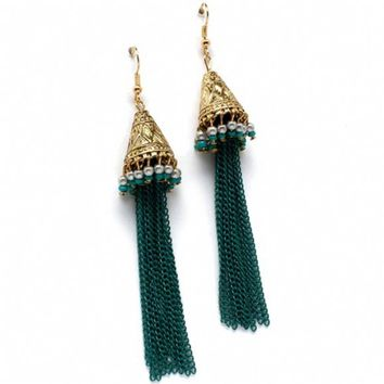 Camessa's Turquoise Accented 3.5 Inch Long Teal Tassel Earrings-Final Sale