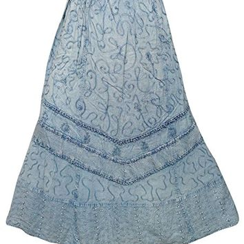 Mogul Women's Boho Skirt Medeival Blue Embroidered Stonewash Lace Panel Skirts