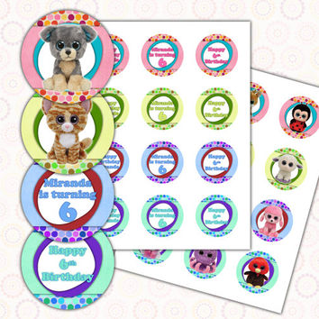 Beanie Boo's Happy Birthday cupcake toppers 2 inch images Printable