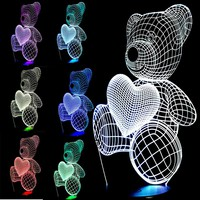 Free shipping Kid Christmas Gift USB Little Lovely Heart Bear 3D Atmosphere Lamp Girls Baby Bedroom LED Touch Night Light