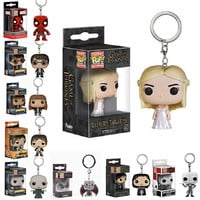 Daenerys Targaryen Funko POP Game of Thrones Jon Snow Pocket Keychain Key Ring Hanger A Song of Ice and Fire D.C Who Deadpool