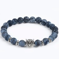 Blue & White Natural Stone Bracelet with Silver Owl Charm