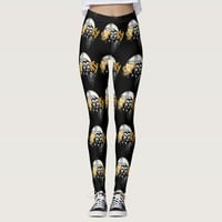 Halloween Spooky Grave Yard White Ghost Faces Leggings