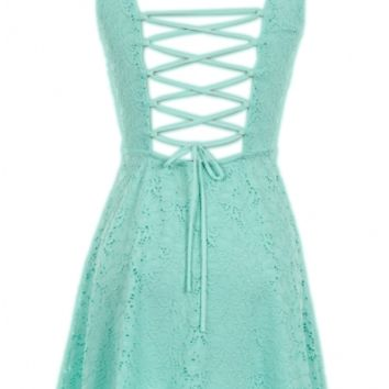 Mint Lace Up Back Dress