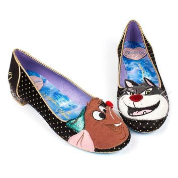 DCCKLP2 Irregular Choice Cinderella Collection:  Lucifer & Gus Flats