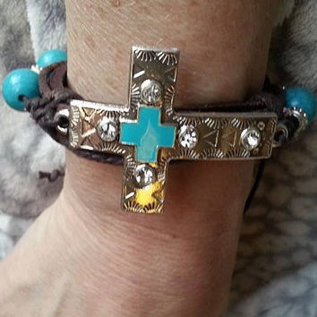 Leather Wrap Bracelet., Boho Bracelet, Horse Bracelet, Leather Cuff, Adjustable Wrap, Cowgirl Jewelry, Silver Cross Bracelet