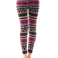 Fuchsia Tribal Printed - Faux Fur Lined - Leggings
