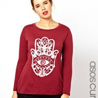 ASOS CURVE Exclusive Long Sleeve T-Shirt With Henna Hand at asos.com