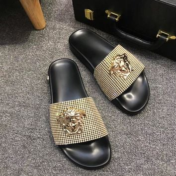 Gold Versace Fashion Slipper Sandals Shoes