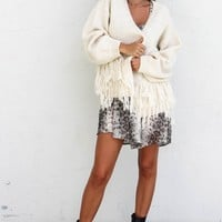 One Kiss Oatmeal Fringe Open Front Cardigan