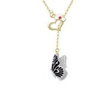 Large Black Flying Butterfly Gold Tone Nurse Hat Heart Lariat Necklace