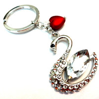 Beautiful Rhinestone Swan with Red Satin Heart Keychain, Car Accessories, Metal Key Ring