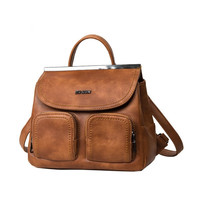 Brown Leather Backpack Vintage Shoulder Bag Casual Crossbody Bag Handbag