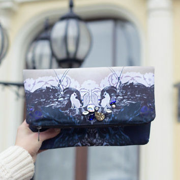 Pearl foxes - printed theater clutch bag