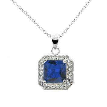 "Londyn 18k White Gold Princess Cut CZ Halo Pendant Necklace with 18"" Chain - Silver"