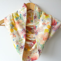 Cowl with Watercolor Petal Expressions, Soft Jersey