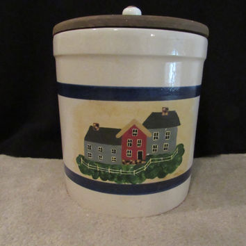 Vintage Folk Art Kitchen Food Storage Biscuit Jar Cannister RRPO Roseville Pottery