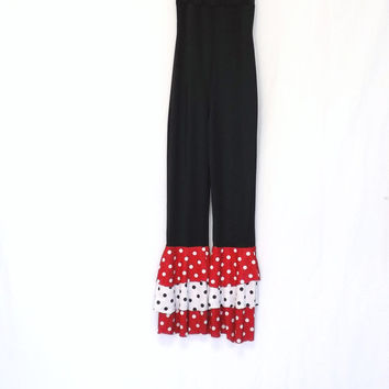 Vintage Black Red Polka Dot Palazzo Bell Bottom Wide Leg Mod Jumpsuit Body Suit Clown Hippie Disco Small Dance Costume Ruffled Curtain Call