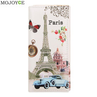 Fashion designer Wallet Women Long Wallets Smooth PU leather Paris Flags Eiffel Tower Style Lady Coin Purses Clutch Wallet