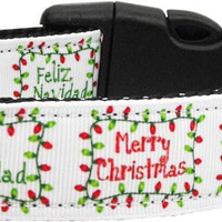 Feliz Navidad Nylon Dog Collars Medium