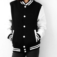 Fashion Womens Thicken Korean style Outwear Coat New Baseball Uniform Sports Jacket = 1929564164