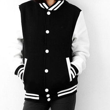 Women &Men Unisex  College Style Varsity Baseball Uniform Sport Sweater Jacket hoodies outwear