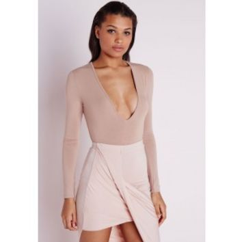 Long Sleeve V Neck Bodysuit Taupe - Bodysuit - Tops - Missguided
