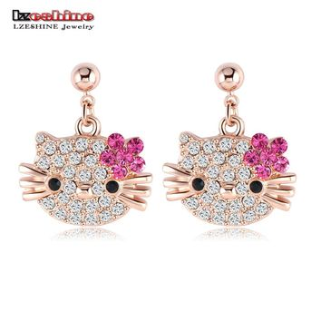 Lovely Cat Flower Stud Earrings for Girls! Rose-Gold Color, Austrian Crystal!