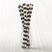 Black Striped Straws (Set of 25)
