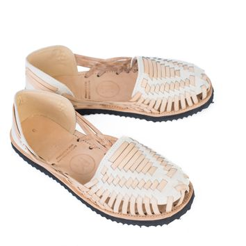 Men's Beige Woven Leather Huarache Sandals