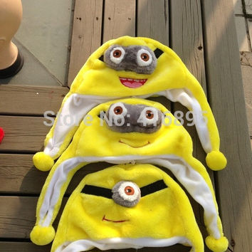 autumn winter earflap hats costume Minions Minion Cosplay Super Daddy little yellow Hats for child Kids Women Men 10131214