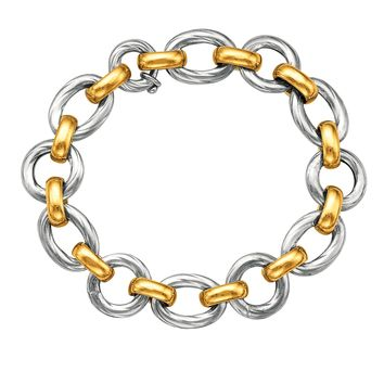 """18k Yellow Gold And Sterling Silver Oval Link Bracelet, 7.5"""""""